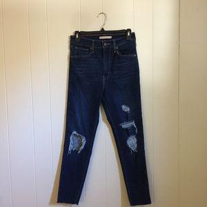 Levi's Mile High distressed crop skinny jean 28